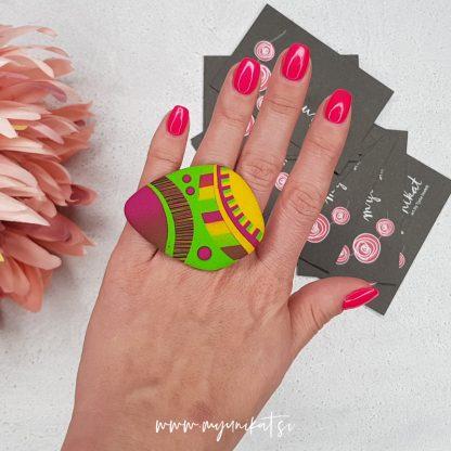 P399-Unikaten-prstan-diamond-Myunikat-tjasavodeb-fimomasa-rumen-zelen-roza