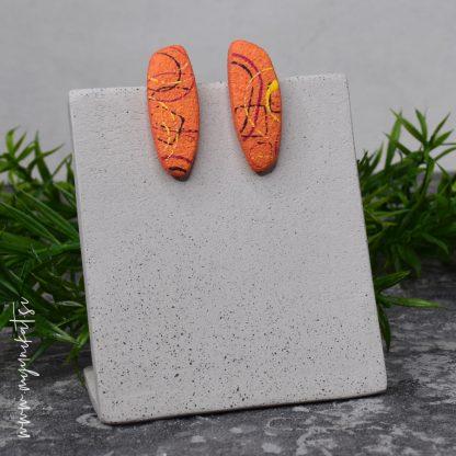 rocno-izdelani-uhani-unikatni-nakit-myunikat-TjasaVodeb-abstrakt-oranzna